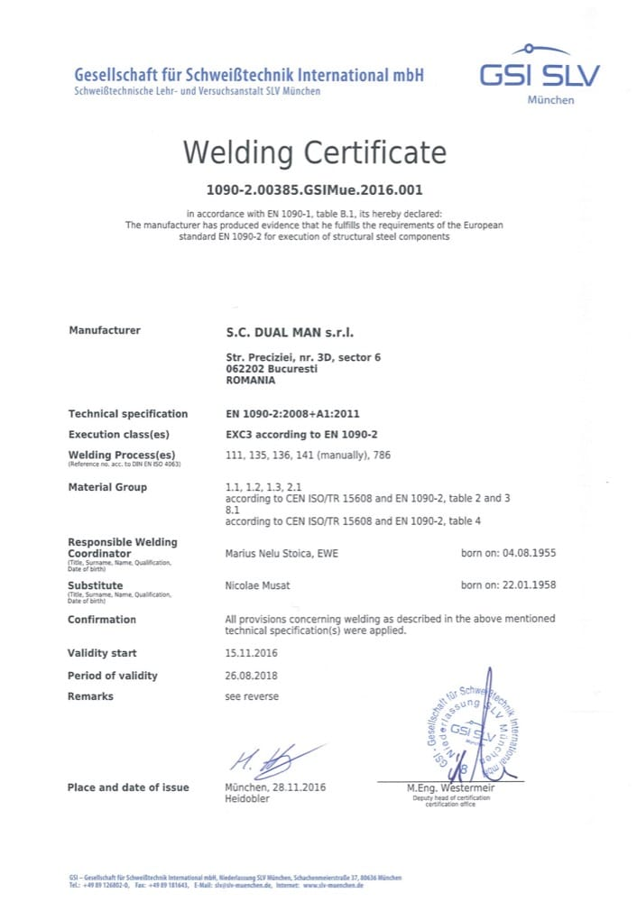 Technical certifications – dual